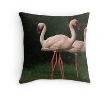 three flamingos Throw Pillow