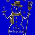 Gold Snowman German Merry Christmas Frohe Weihnachten by David Dehner