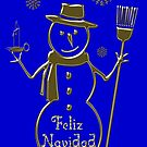 Gold Snowman Spanish Merry Christmas Feliz Navidad by David Dehner