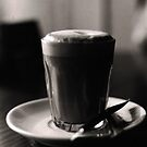 late night latte (b&w film) by deborah brandon
