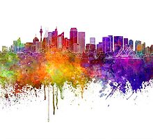 Sydney skyline in watercolor background by paulrommer