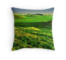 Farm Valley At Sunset Throw Pillow