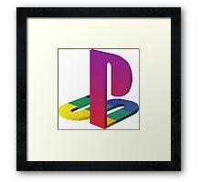 ps1 vaporwave logo Framed Print