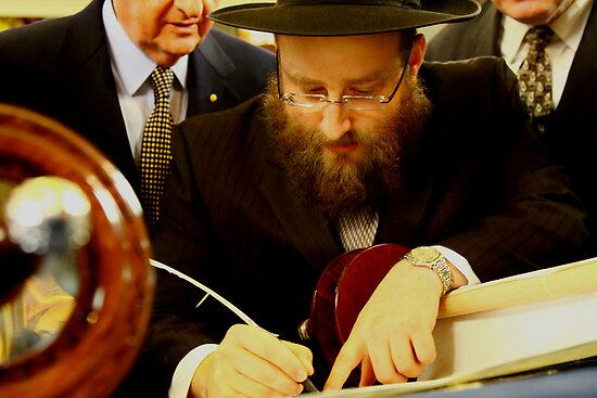 Final Hebrew Letter Being Inscribed in New Torah by Ronald Rockman