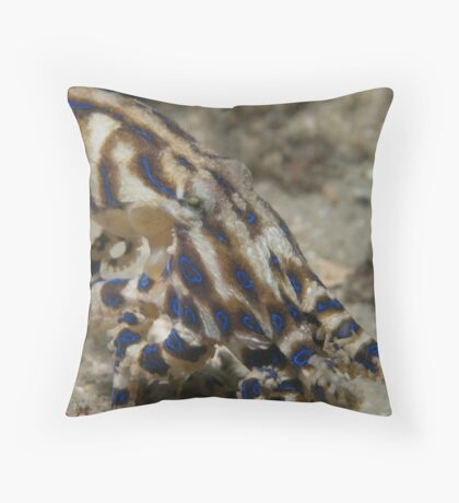 Blue Lined Octopus Throw Pillow