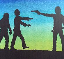 Rick & zombies the walking dead by Maudster