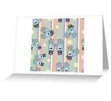 Seamless Hand-Drawn Gardening Gloves Background Greeting Card