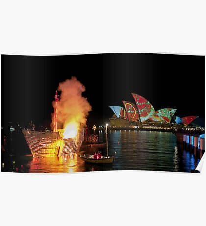 Fire Water (Sydney - Campbells Cove, The Rocks) Poster