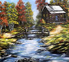Log Cabin by Pamela Plante