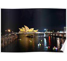 Sydney Opera house and lights and reflections Poster