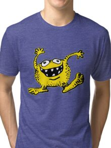 Cute Cartoon Yellow Monster by Cheerful Madness!! Tri-blend T-Shirt