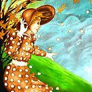 Autumn Girl Greeting Card by robertemerald