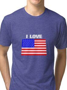 I love USA Tri-blend T-Shirt