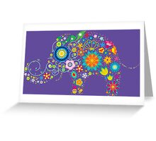 Elephant colorful Flowers Greeting Card