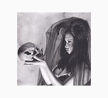 Realism Charcoal Drawing of Sexy Dark Queen in Veil with Skull T-Shirt