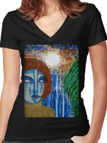 Woman by Waterfall Women's Fitted V-Neck T-Shirt