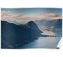 Monte San Salvatore and lake of Lugano Poster