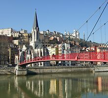 red footbridge of St georges, lyon, france by KERES Jasminka