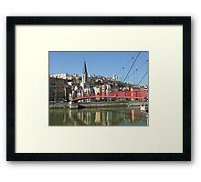 red footbridge of St georges, lyon, france Framed Print