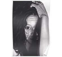 Realism Charcoal Drawing of Beautiful Woman from Honduras Poster