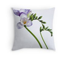 Purple freesias Throw Pillow