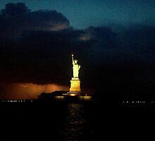 Lighting and Lady Liberty by angidphoto