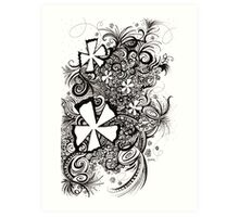 58: Black and White Abrstract Flowers Art Print