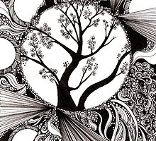 59: Black and white Abstract with Trees by Danielle J. Scott (Smith)