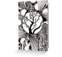 59: Black and white Abstract with Trees Greeting Card