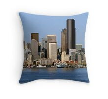 Cityscape of Downtown Seattle Throw Pillow