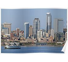 Ferry arriving in Downtown Seattle, Elliott Bay Poster