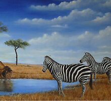 The watering hole by gdwildart