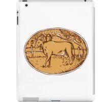 Cow Ranch Farm House Oval Woodcut iPad Case/Skin