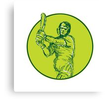 Cricket Player Batsman Batting Drawing Canvas Print