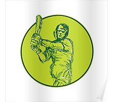 Cricket Player Batsman Batting Drawing Poster