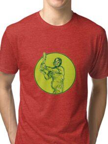 Cricket Player Batsman Batting Drawing Tri-blend T-Shirt