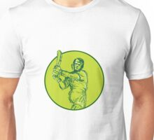 Cricket Player Batsman Batting Drawing Unisex T-Shirt