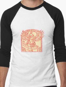 Mexican Eagle Devouring Snake Etching Men's Baseball ¾ T-Shirt