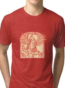Mexican Eagle Devouring Snake Etching Tri-blend T-Shirt