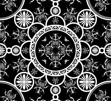 Scarab tile line pattern with black Background by pASob-dESIGN