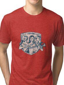 Film Crew Clapperboard Cameraman Soundman Etching Tri-blend T-Shirt