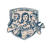 Film Crew Clapperboard Cameraman Soundman Etching Photographic Print