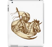 Knight On Horse Holding Flag Drawing iPad Case/Skin