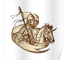 Knight On Horse Holding Flag Drawing Poster
