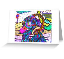 Labrador with earphones Greeting Card