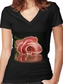 Pink rose. Women's Fitted V-Neck T-Shirt