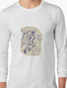 Marathon Runner Running Drawing Long Sleeve T-Shirt