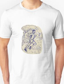 Marathon Runner Running Drawing T-Shirt