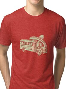 Sombrero School Bus Etching Tri-blend T-Shirt