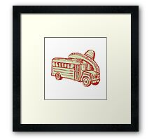 Sombrero School Bus Etching Framed Print